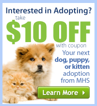 $10 OFF your next dog, puppy, or kitten adoption from MHS